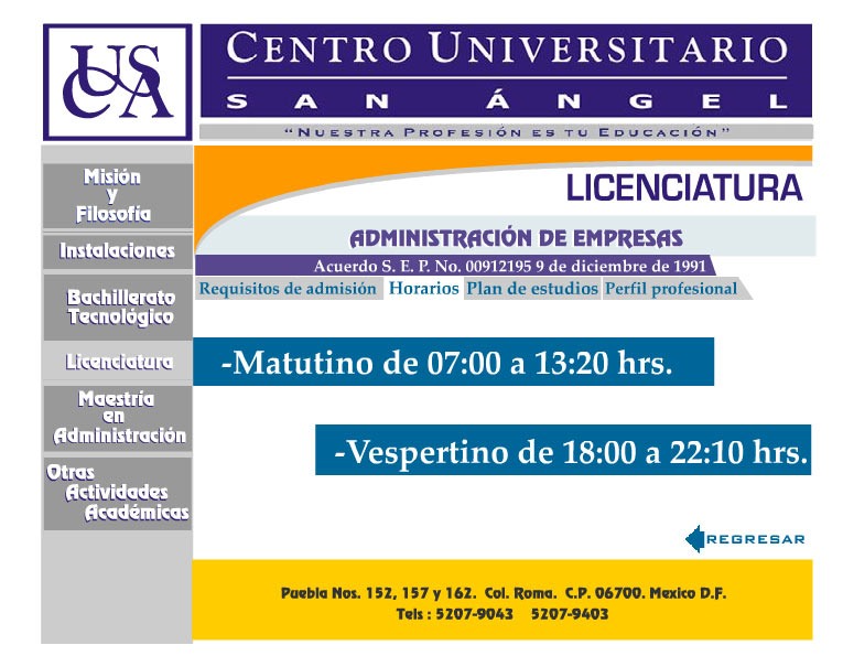 Centro Universitario San Angel Horarios